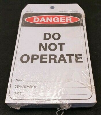 100 Pack of Accumax UDT101 Danger Do Not Operate Safety Lockout Tag Caution