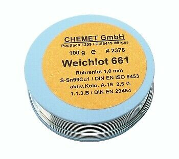 Soldering wire Sn96.5Ag3Cu0.5 0.5mm 100 g with flux Chemet