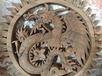 Dragon Wood Balinese Hand Carving Lucky Dragon Wall Table Decoration,NEW