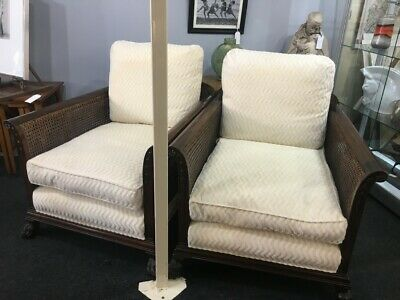 Pair of Bergere Armchairs Covered in Andrew Martin Cream Fabric Victorian Era