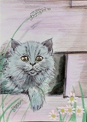 ACEO Original painting Cat shelter Village life Watercolor Art Miniature