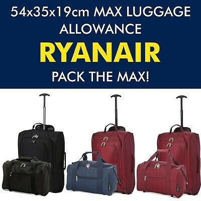 5 Cities Ryanair Maximum Cabin Trolley Luggage Bag and Carry On Cabin Bag Set