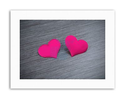 COMPOSITION TWO PINK LOVE HEART SHAPES TEXTURED Canvas art Prints