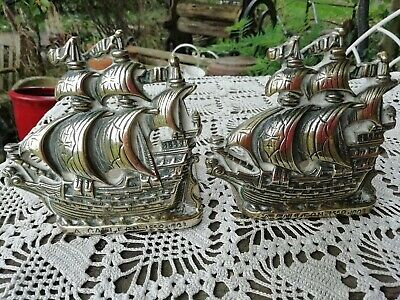 Antique English Pair Solid Brass Galleon Ship Book Ends Reg No' For 1924