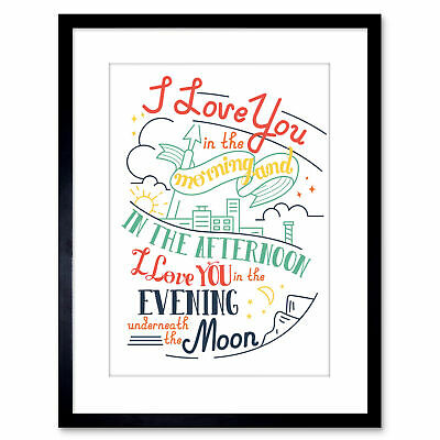 """Quote Typography Motivation Love Day Moon Skidamarink Framed Wall Art Print 9X7"""""""
