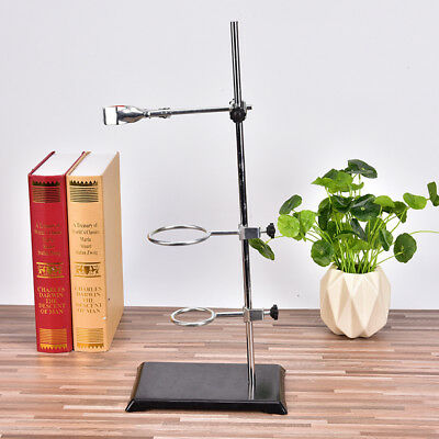 Chemistry Laboratory Retort Base Stand.Support Lab Flask Clamp+3 Ring Clamp ^S