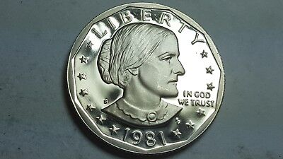 1981-S Proof Deep Cameo Type 2 Clear S Not Flat Susan B. Anthony Dollar BU