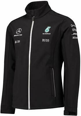 Men's F1 Mercedes AMG Petronas Hugo Boss Team Black Softshell Jacket Size XS