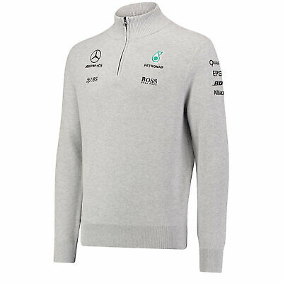 Men's F1 Mercedes AMG Petronas Hugo Boss Team Zip Neck Jumper Sweater Size XS