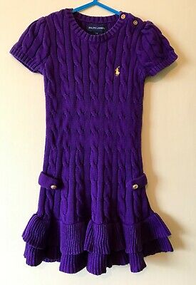 Ralph Lauren Little Girls Knitted Dress Purple Size 3T Smart Casual Christmas