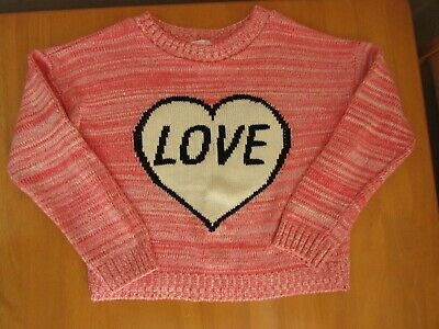Kylie M & Co Pink Heart Love Slogan Pink Girls Jumper - Age 9 - 10 Years
