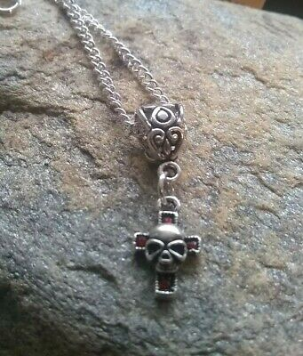 Small skull cross necklace crucifix gothic  god religious silver gift wrapped