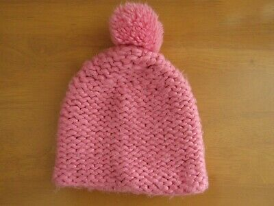 Next Girls Pink Glittery Knitted Pom Pom Hat - Age 7 - 10 Years
