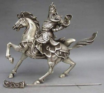 Old Chinese Collectable Tibet Silver Warrior God Guan Yu & Horse Statue