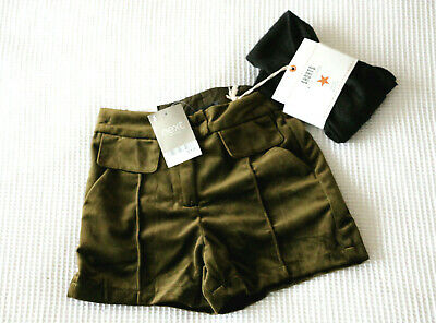 Next Girls Green Velvet Shorts & Black Sparkle Tights Set Age 3Yrs BNWT Tag £19