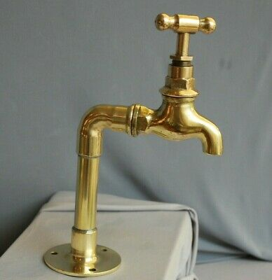 Brass Belfast Sink Tap, Single Cold Water Kitchen Tap, Reclaimed & Refurbished