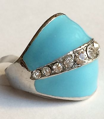 Silver Aqua Art Deco Dome Cocktail Ring Size 6 7 Vintage Style Crystal Plated