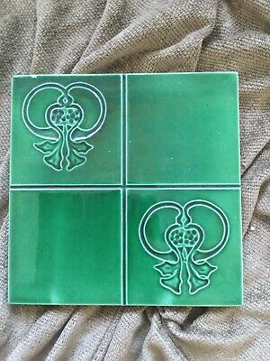 Beautiful Art Nouveau antique tile Majolica