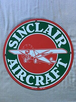 VINTAGE SINCLAIR Aircraft PORCELAIN ENAMEL SIGN 11 3/4 GAS OIL PUMP PLATE