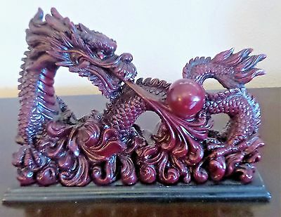 Chinese Lucky Feng Shui Red Wood Tone Dragon Thunder Ball Red Eyes Figurine