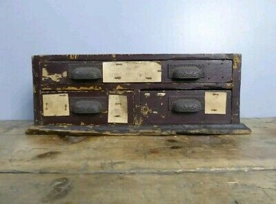 Small Bank of Vintage Industrial Drawers Vintage Antique Cabinet Apothecary