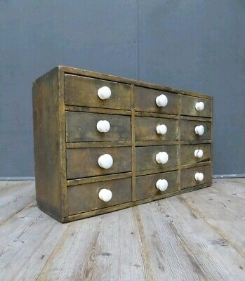 Bank of Vintage Industrial Drawers Vintage Antique Cabinet Apothecary Kitchen