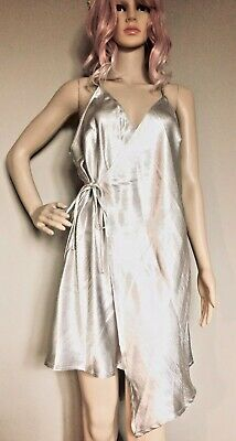 LAST CHANCE: Missguided Size 16 Silver Shimmer Strappy Asymmetric Wrap Dress