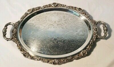 Vintage POOLE Bristol Silverplated Butler Serving tray Footed