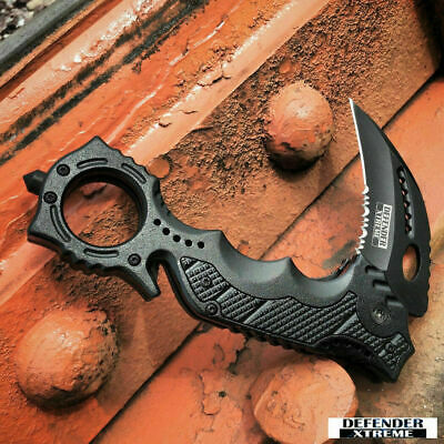 "8"" Heavy Duty Tactical Black Spring Assisted  Rescue Folding Karambit Claw Knife"