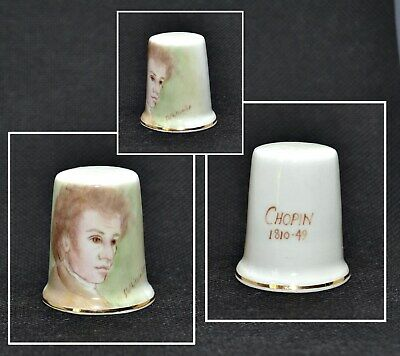 Dunheved Hand Painted Thimble Signed S.whitcombe - Chopin
