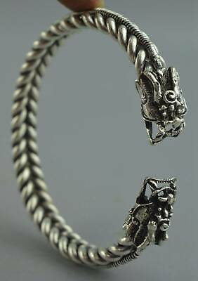 Collection China Ancient Miao Silver Carve Two Dragon Exorcism Usable Bracelet