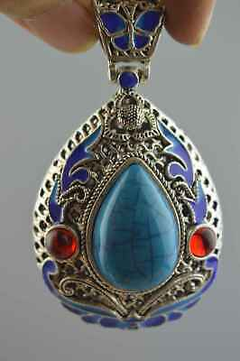 Collection Handwork Miao Silver Carve Flower Inlay Turquoise Noble Pendant