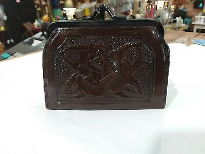 Mexican Chocolate Colored Hand Tooled Leather 2 Compartment Coin Purse