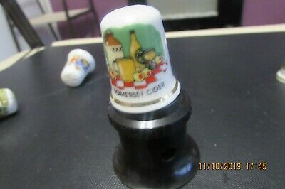 Somerset Cider  Bone China Thimble With Picture Of Bottle Glass Jug & Flagon