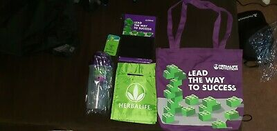 Herbalife shaker cup, lunch tote, journal, pen and canvas bag