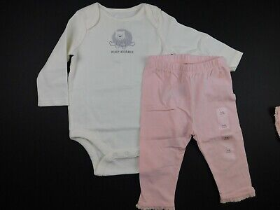 NWT Gap Baby Girl 2 Pc Outfit LS Bodysuit Beary Adorable/Leggings 0-3M 3-6M New