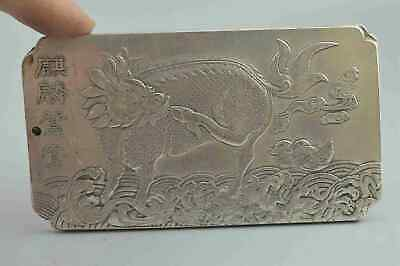 Collectable Handwork Old Miao Silver Carve Dance Kylin Exorcism Usable Pendant