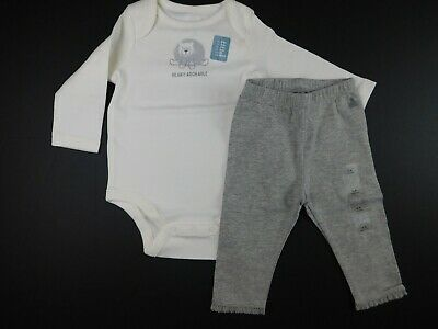 NWT Gap Baby Girl 2 Pc Outfit LS Bodysuit Beary Adorably/Grey Leggings 3-6M New