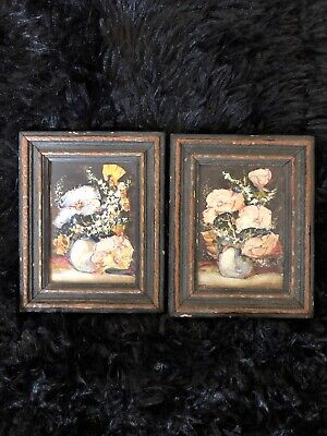 Antique 1800s/1900's Floral Mini Oil painting-Amazing detail+Age Very Nice