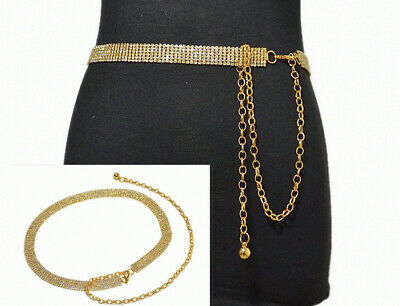 Gold & Silver Women Full Rhinestone Diamante Waist Chain Belt Ladies Charm Lady