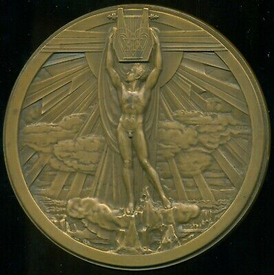 Richard Wagner / Allegorical Big French Bronze Medal Plaque By Jules Bazor Nice