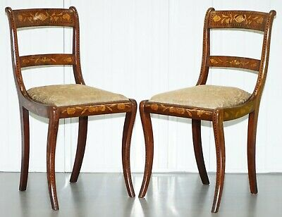 Pair Of Regency Circa 1810 Satinwood Dutch Marquetry Ornate Inlaid Side Chairs