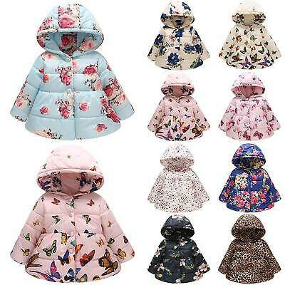 Toddler Kids Girls Floral Hooded Coat Padded Jacket Long Sleeve Outwear Warmer
