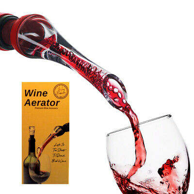 Guay Bebida Bottle Wine Aerator Pourer and Decanter Spout with Air Tube - Red