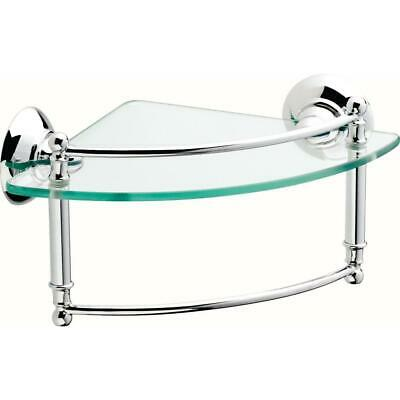 Delta 8 in. Glass Corner Shelf with Hand Towel Bar in Polished Chrome