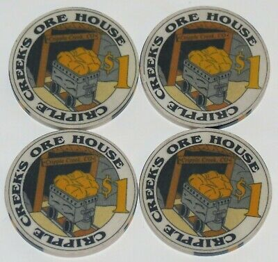 Four Obsolete Cripple Creek, Colorado Ore House $1 Casino Chips