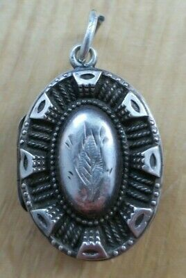 ANTIQUE VICTORIAN Silver Pendant Locket With Engraved Leaf & Edge Detail