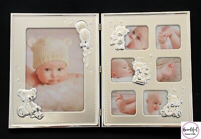 Baby Girl/Boy Silver Double Photo Frame Newborn Gift, Baby Shower Present,