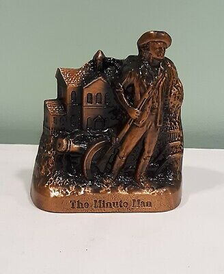 Banthrico Cast Metal Minute Man Coin Bank with bottom plate intact Galion Ohio