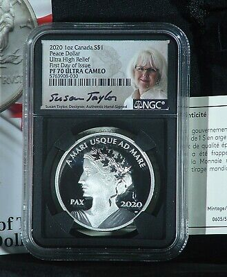 2020 Canada 1oz UHR Silver Peace Dollar NGC PF70UC 1st YEAR!1st DAY!   Low COA!